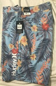 """NWT Hurley Mens Board Surf Shorts Swimsuit Size 36 MSRP $45 20"""" Length"""
