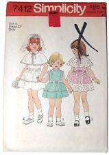 Vintage Simplicity Pattern 7412 Girls 1976 Dress Caplette Size 4 Uncut