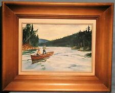 VINTAGE FRAMED MATTED WATERCOLOR ON PAPER 'FISHING ON THE RIVER' SIGNED C.BOWEN