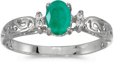 10k White Gold Oval Emerald And Diamond Ring (CM-R2205W-05)