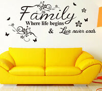 Family Quote Life Love Wall Sticker Removable Art Vinyl Home Decal Decor Mural