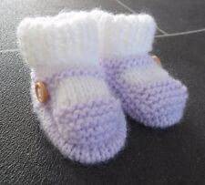 NEW - HAND KNITTED BABY BOOTEES - SOCK AND SHOE STYLE - LILAC - 0-3 MONTHS