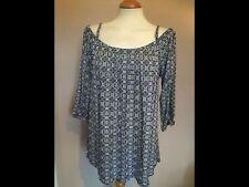 Viscose 3/4 Sleeve Geometric Tops & Shirts for Women