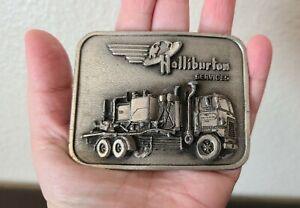 Vintage 1982 Halliburton Oil Services Truck Mount Pumper Metal Belt Buckle