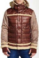 "Men`s New JET LAG Genuine Hooded Down Jacket Size 2XL 46"" Red/Brown Parka Coat"
