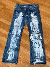 Crocker Jeans Turbo Blue Distressed Painted Denim Blue Jeans MEN'S SIZE 34 x 34
