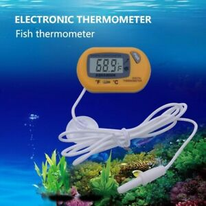 Digital LCD Thermometer Aquarium Fish Tank Vivarium Water Marine Stick On Probe