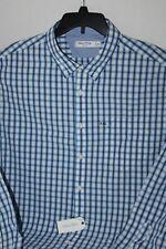 NEW Nautica 2XL XXL WR7472 shirt plaid White blue black Slim fit Long sleeve NWT