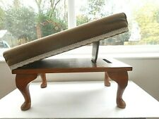 VINTAGE OAK  PADDED VELOUR TOP  FOOTSTOOL WITH TWO POSITION LEG REST SUPPORT