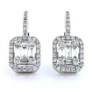 Lovely 0.86 TCW Baguette & Round Cut Diamonds Dangle Earrings In 14k White Gold