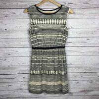 Ann Taylor LOFT Womens Sleeveless A-line Dress Sz Small Black White Geometric