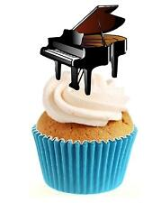 Novedad Grand Piano 12 Comestibles Stand Up Oblea papel Cake Toppers Cumpleaños Música