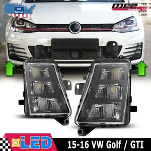 Fits 15-16 VW Volkswagen Golf GTI PAIR Replacement LED Fog Lights Clear Lens DOT