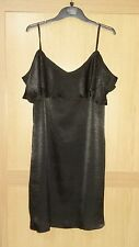 Stunning ladies size 12 black hammered satin frill mini dress bnwt NEW