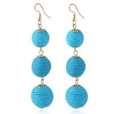 Boho Earrings Ball Pom Pom Lantern Long Hook Dangle Drop Jewelry