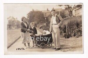 Lot of 2 RPPC Pram in Street - Paddling in Sea -by Snaps Bridlington 1920s 1930s