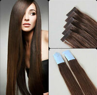 #4 Brown New Tape in Skin Weft 100% Remy Human Hair Extensions Dark Brown 16-24'