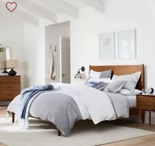 New Belgian Linen With Velvet Border Duvet King/Cal King White /Alloy