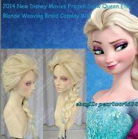 New Disney Movies Frozen Snow Queen Elsa Blonde Weaving Braid Cosplay Wig wigs
