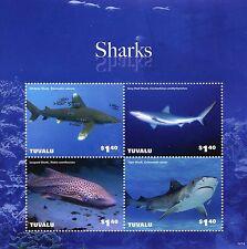 Tuvalu 2014 MNH Sharks 4v M/S II Marine Whitetip Gray Reef Leopard Tiger Shark