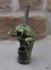 Collectible Perched Iguana Tobacco Pipe Handmade and Painted With Medium Pot