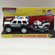 Maxx Action Fire and Rescue Trailer Series Lights&Sounds Police with Quad NEW