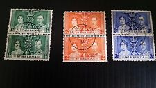 ST HELENA 1937 SG 128-130 CORONATION IN PAIRS  USED