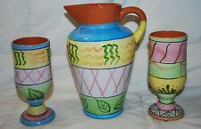 """Set Of 3 World Bazaar Colorful Pottery Pieces 10"""" Pitcher & 2 Matching 7"""" Cups"""