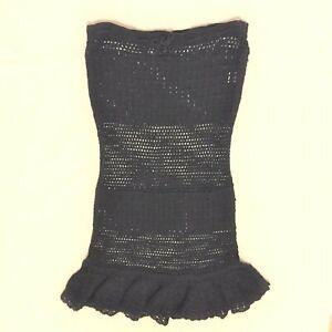 MAJORELLE Dress Crochet Tube Top Knee Length BLACK Size Small