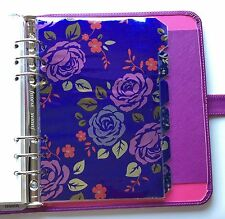 Filofax A5 Organiser Planner 6 Ring - Bright Purple Flower Dividers - Laminated