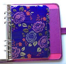 Organizador Filofax A5 planificador 6 Anillo-púrpura brillante flor Divisores Laminado
