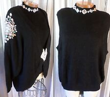 NWT NEW 3X Black Blouse Sweater Lady Twin Set Beads 22 24 Plus 22W 24W Woman Cry