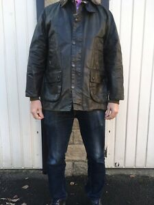 "Mens Vintage Barbour Bedale Wax Jacket Dark Green Chest 42"" (107cm)"