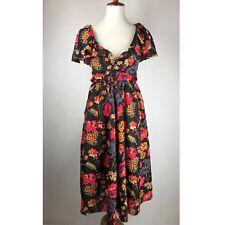 VINTAGE OSCAR DE LA RENTA Floral Size 8 Dress! Ruffle Collar, Peasant Style