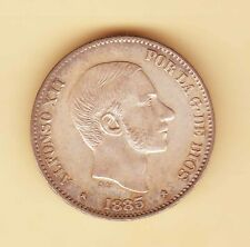 1885 SPAIN Philippines Alfonso XII 50 centimos de Peso , SILVER Uncirculated