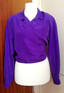TR VTG Purple 80's Diane Gilman 100% Silk Boxy Crossover Tie Back Shirt UK 14