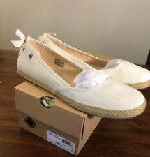UGG INDAH BOW 1003493 WHITE SIZE 11 NEW WOMAN'S FLATS 100% AUTHENTIC*FAST SHIP*