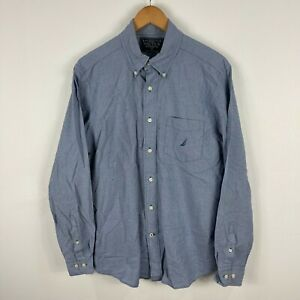 Nautica Mens Button Up Shirt Medium Blue Long Sleeve Collared 5.14