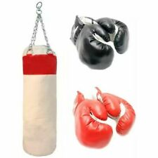 Punching Bag w/ 2 Pairs Of Boxing Gloves Mma Training Sparring Canvas Heavy Duty
