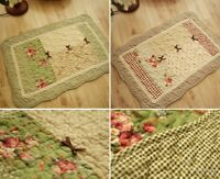 Vintage Rug 100% Cotton Rectangle Floral Quilted Floor Door Bath Mat Rug