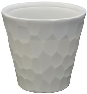 Large 40cm Planters Pebbled White Plastic Large Plant Pots Modern Design
