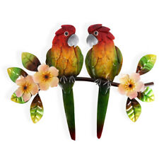 Two Tropical Parrot Metal Wall Art 45 cm | Hanging Sculpture