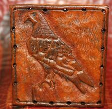 Leather patch - Hawk - Hand tooled in Oregon bushcraft backpack gift bird eagle