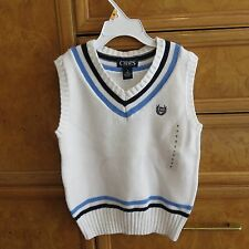 Boys Chaps Ralph Lauren white blue V neck sweater vest size 5 NWT $38.00