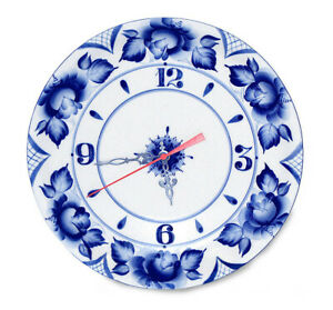 27 cm Round Porcelain Wall Clock with Floral Gzhel Pattern, Handmade in Russia