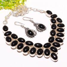Brazilian Black Onyx Gemstone Necklace-Earring Fashion Jewelry Set SS-905