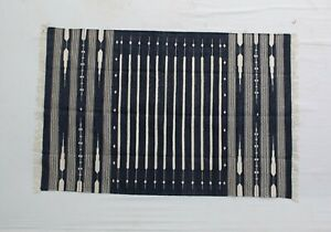 4'X6' Black & White Stripes Handmade Cotton Rug dhurrie Livingroom & Bedroom Rug