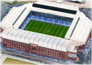 Ibrox Stadium Aerial View Fine Art A4 Print - Rangers FC