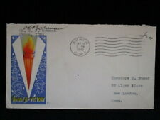 V Victory Freedom Torch Cachet 1945 Christmas Seal WW2 PATRIOTIC COVER Akron OH