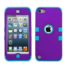 iPod Touch 5 5th Gen Rubber IMPACT TUFF HYBRID Phone Case Skin Cover Purple Teal